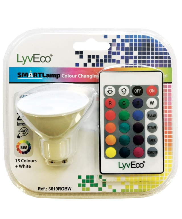 Lyveco Remote Controlled Colour Changing GU10 Lamp - 5w