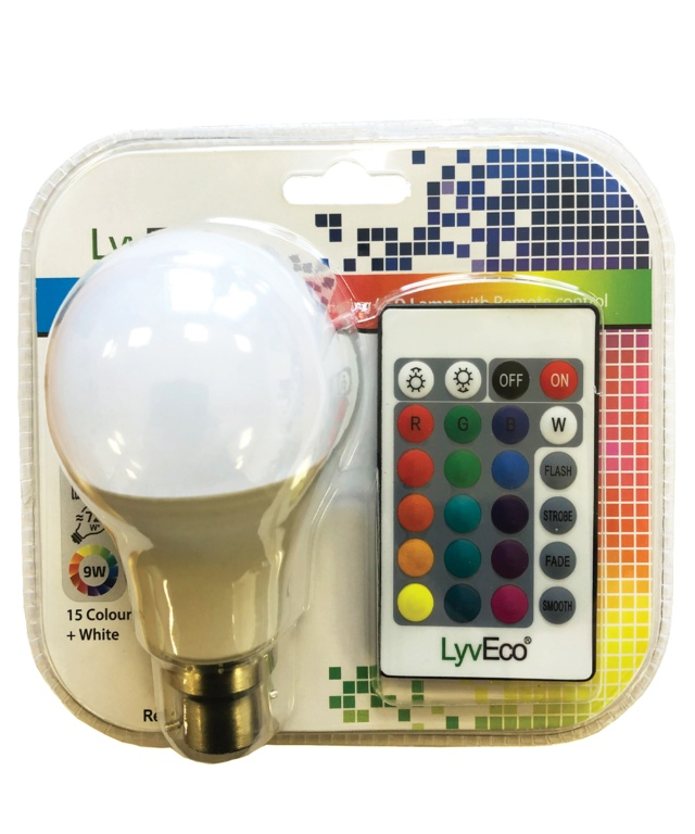 Lyveco Remote Controlled Colour Changing GLS Lamp - 9W BC
