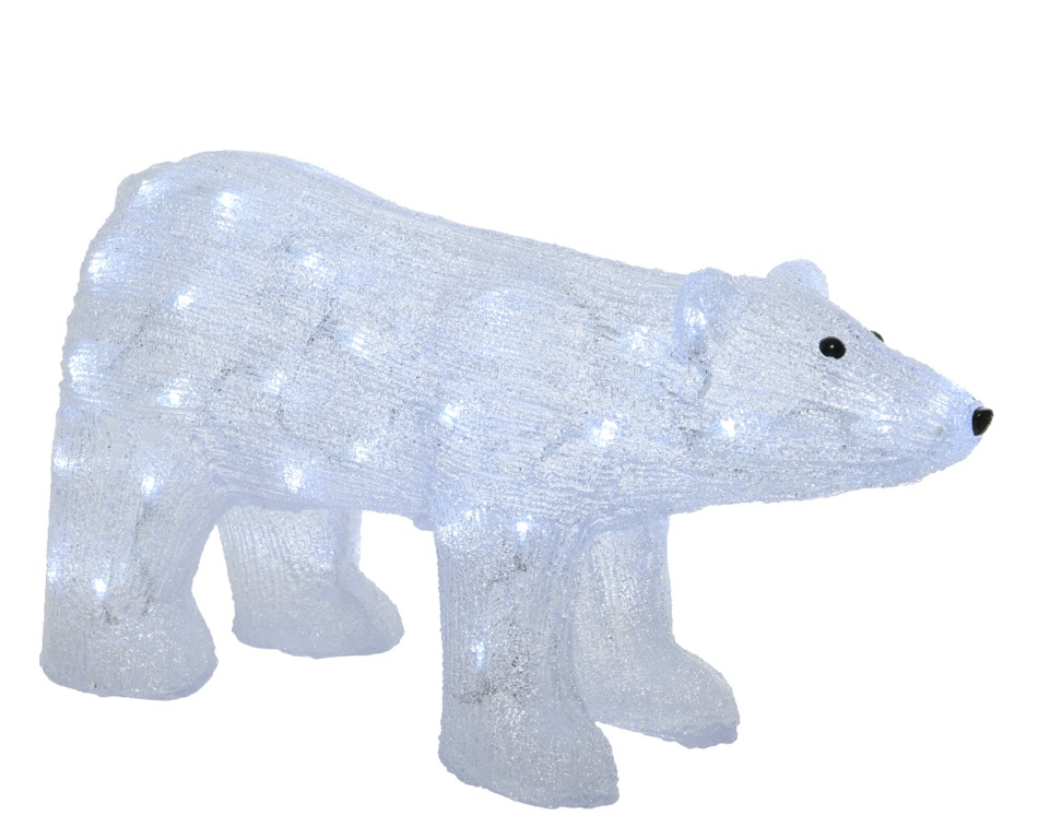 Kaemingk LED Acrylic Outdoor Bear - Cool White 50 Light