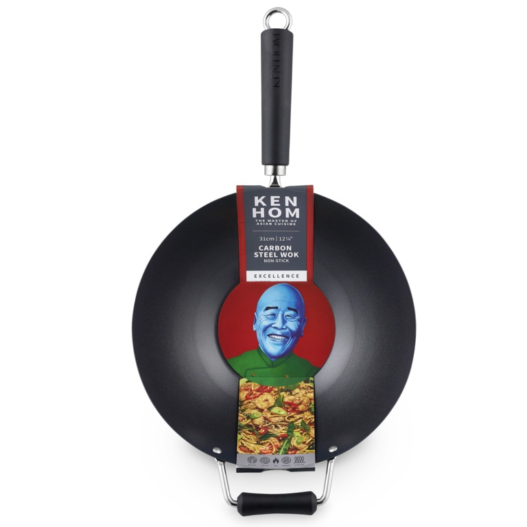 Ken Hom Excellence Non Stick Carbon Steel Wok - 31cm