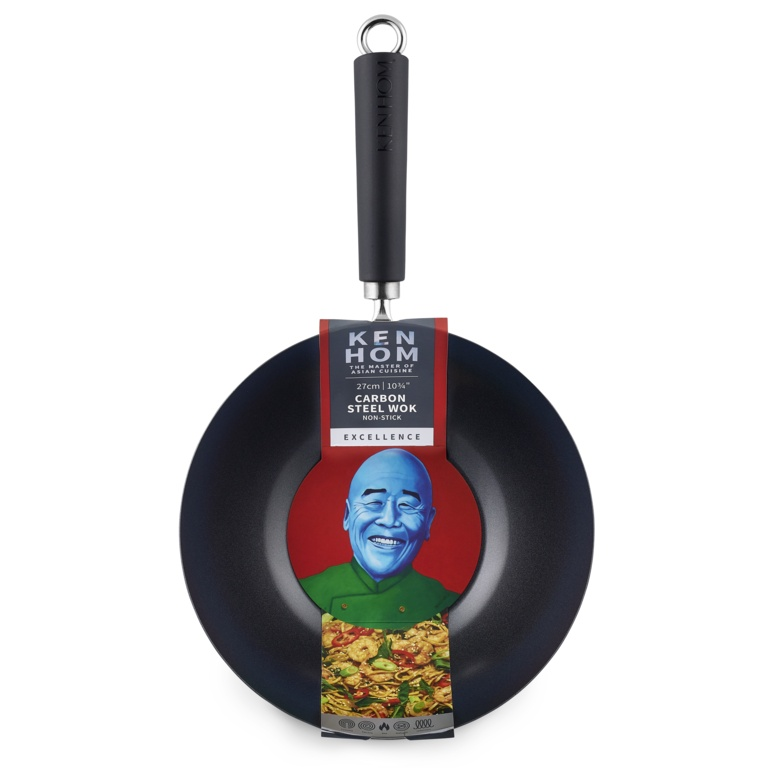 Ken Hom Excellence Non Stick Carbon Steel Wok - 27cm