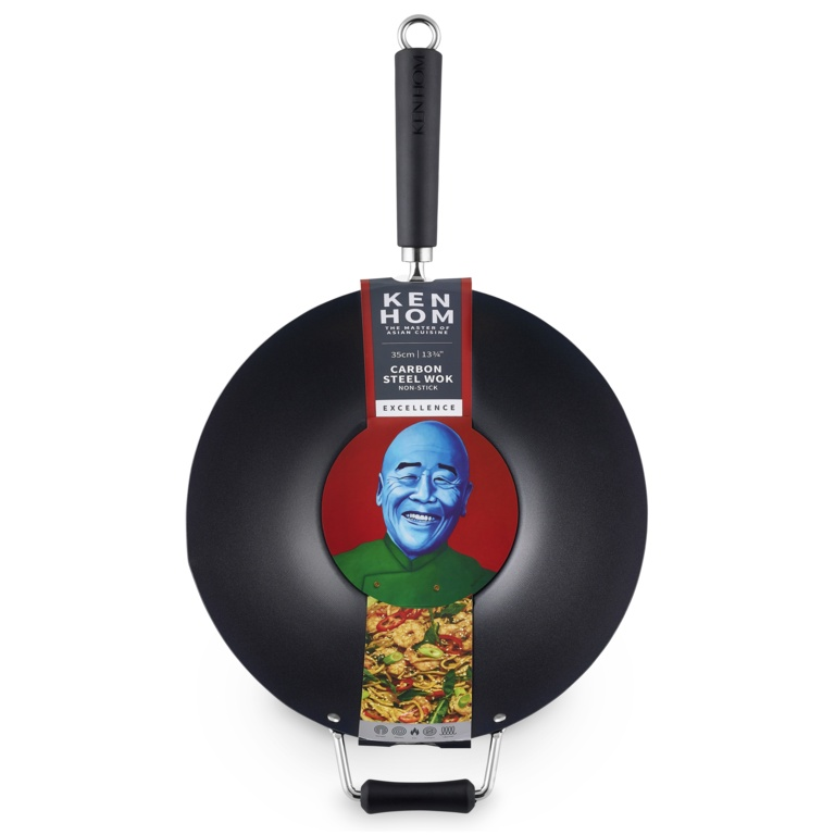 Ken Hom Excellence Non Stick Carbon Steel Wok - 35cm