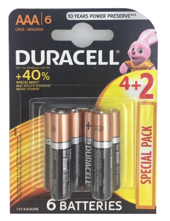Duracell 4 Plus 2 Pack Batteries - AAA