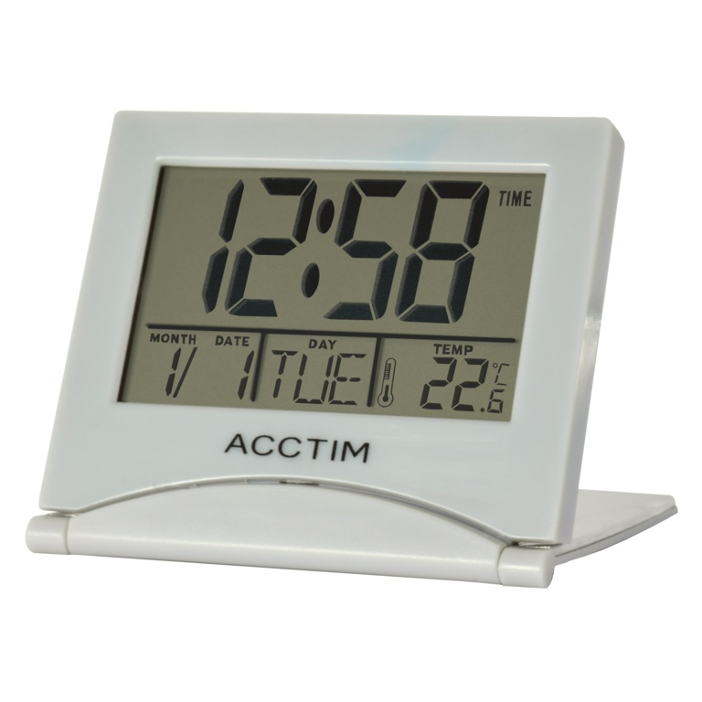 Acctim Mini Flip II Travel LCD Alarm Clock - Grey