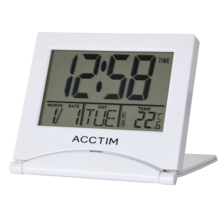 Acctim Mini Flip II Travel LCD Alarm Clock - White
