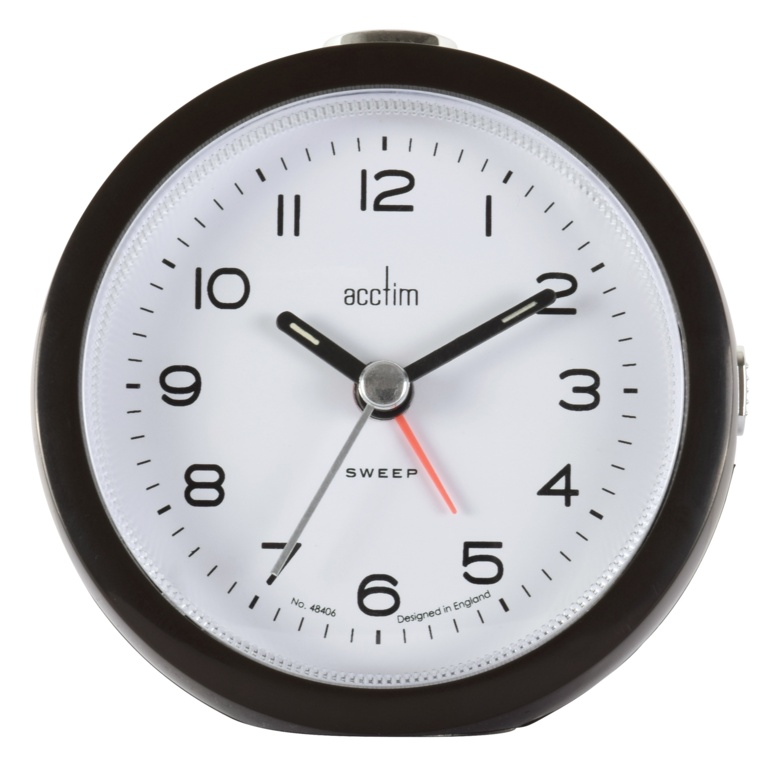 Acctim Neve Non Ticking Sweep Clock - Black