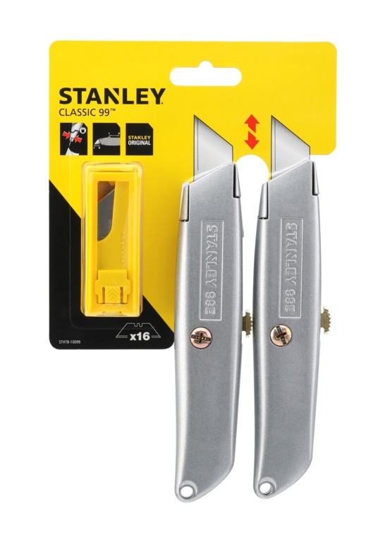 Stanley 99e Retractable Knife With 10 Blades - Twin Pack