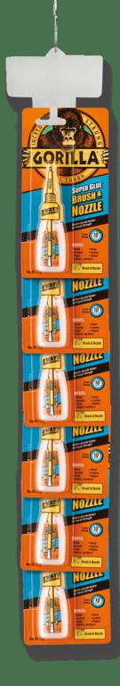 Gorilla Super Glue Brush & Nozzle 12g - 6 Piece Clip Strip