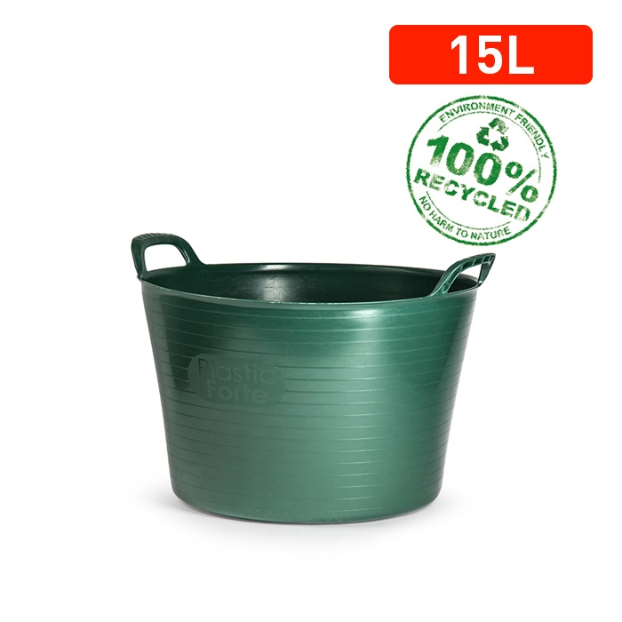 Plasticforte Recycled Flexi Tub - 15L Green
