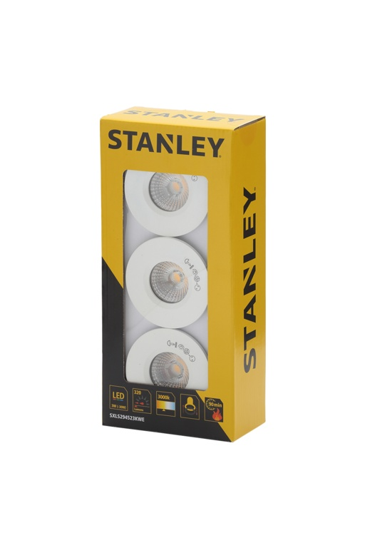 Stanley Slimline Recessed LED Fire Rated Downlighters - 3w Pack 3