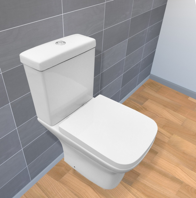 SP Pure Rimless One Box Toilet & Seat - W: 375mm H: 780mm D: 605mm