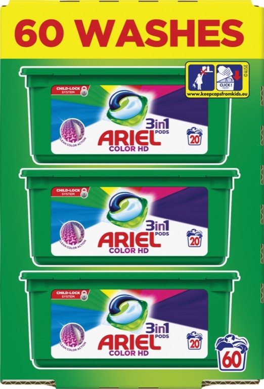 Ariel 3 in 1 Pods Capsules 60 Wash - Colours