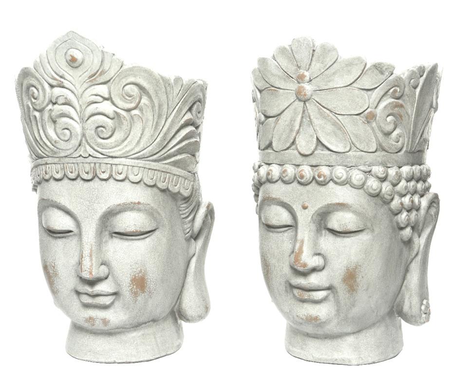 Kaemingk Magnesium Buddha Head Planter - Grey