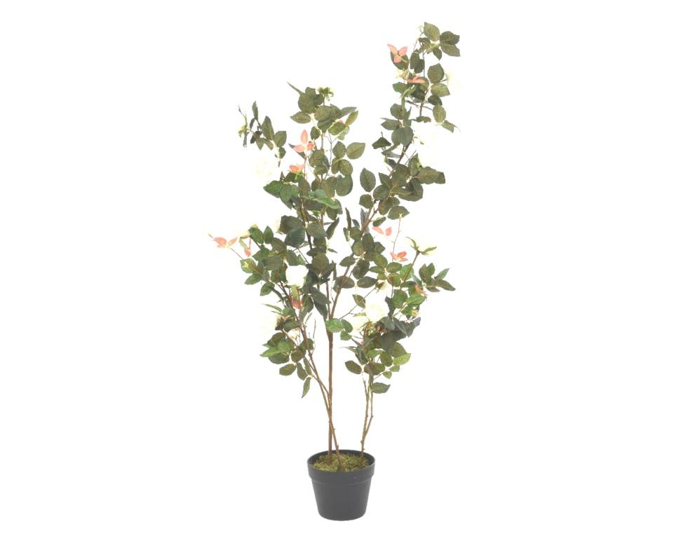 Kaemingk Pes Rose Bush With 16 Flowers - 130cm White