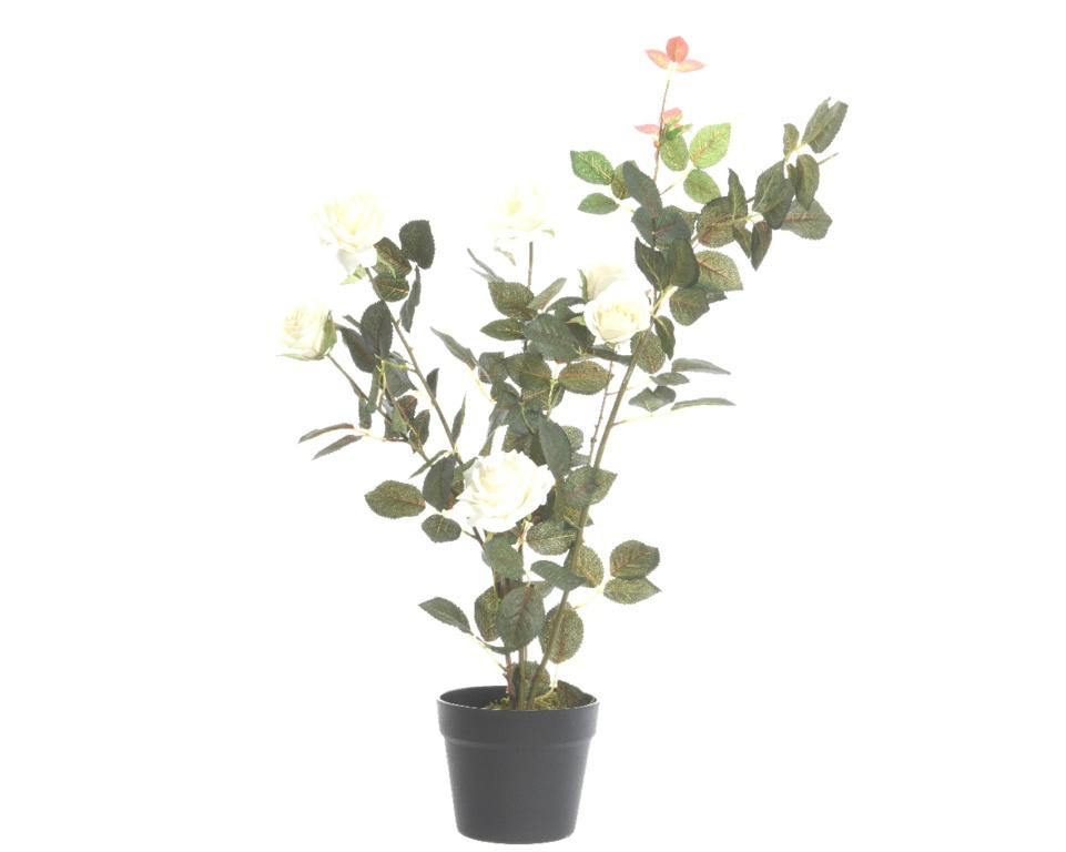 Kaemingk Pes Rose Bush With 7 Flowers - 80cm White
