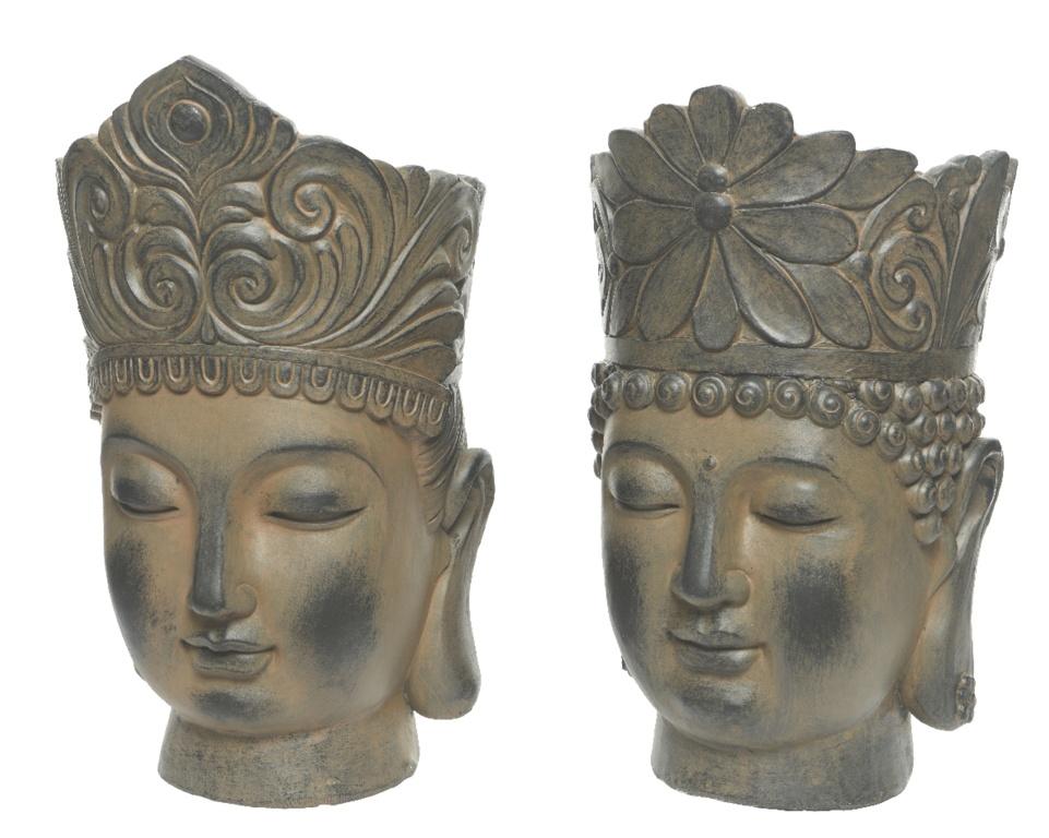 Kaemingk Magnesium Buddha Head Planter - Brown
