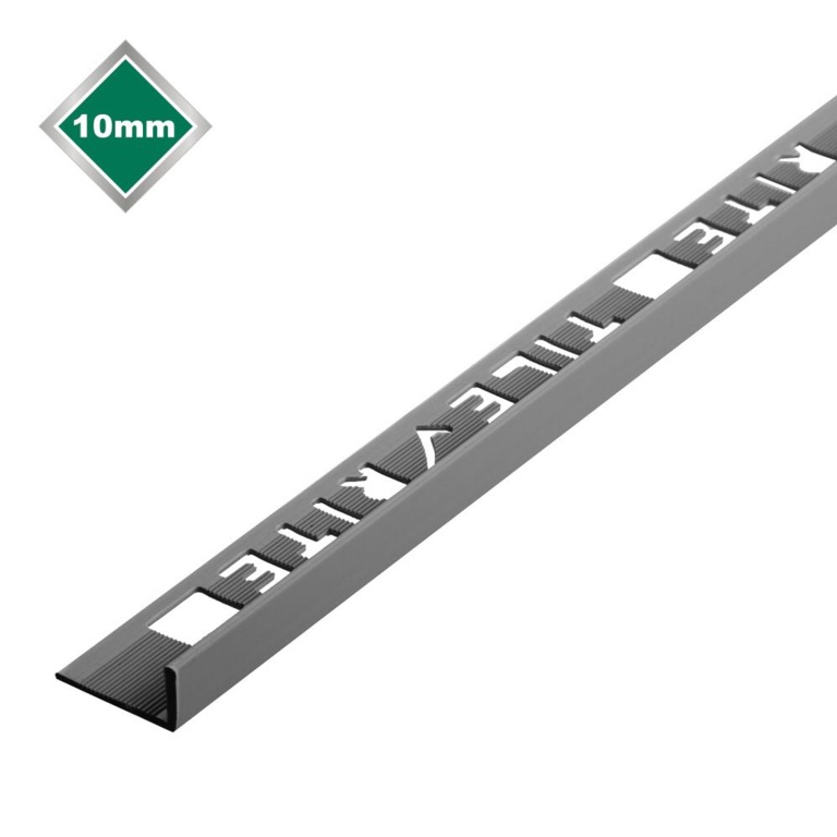 Tile Rite L Profile Trim 10mm x 2.44m - Grey Plastic