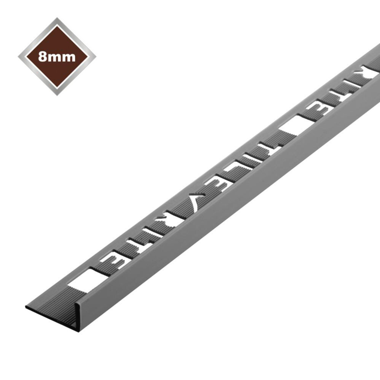 Tile Rite L Profile Trim 8mm x 2.44m - Grey Plastic