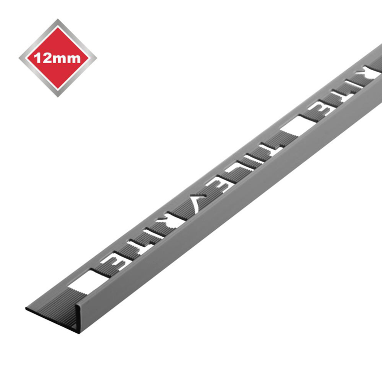 Tile Rite L Profile Trim 12mm x 2.44m - Grey Plastic