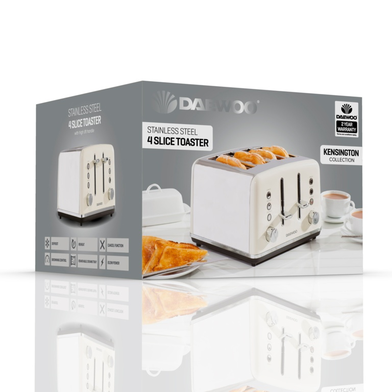 Daewoo Kensington Toaster - 4 Slice Cream
