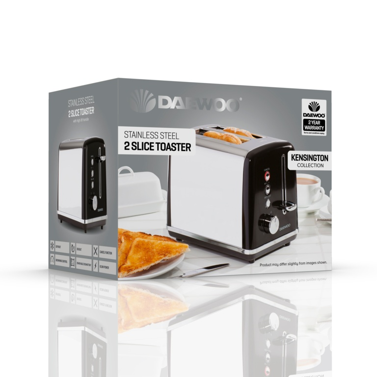 Daewoo Kensington Toaster - 2 Slice Black