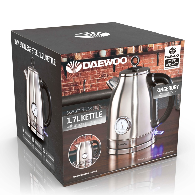 Daewoo Kingsbury Stainless Steel Dial Kettle - 1.7L