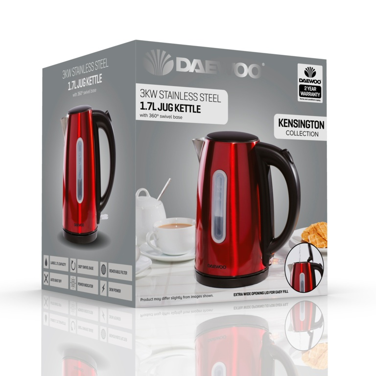 Daewoo Kensington Jug Kettle - 1.7L Red
