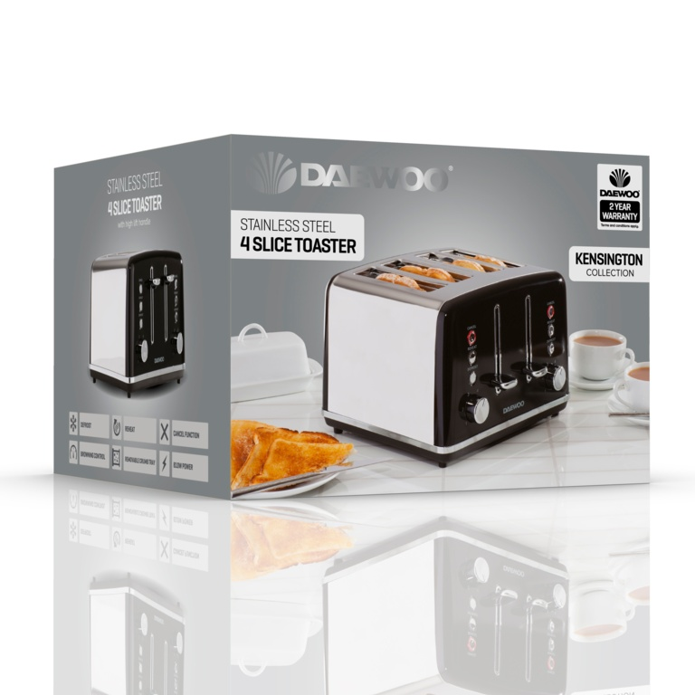 Daewoo Kensington Toaster - 4 Slice Black