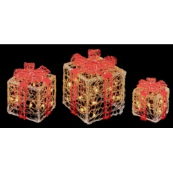 Premier Acrylic Clear Red Parcels with White LEDS