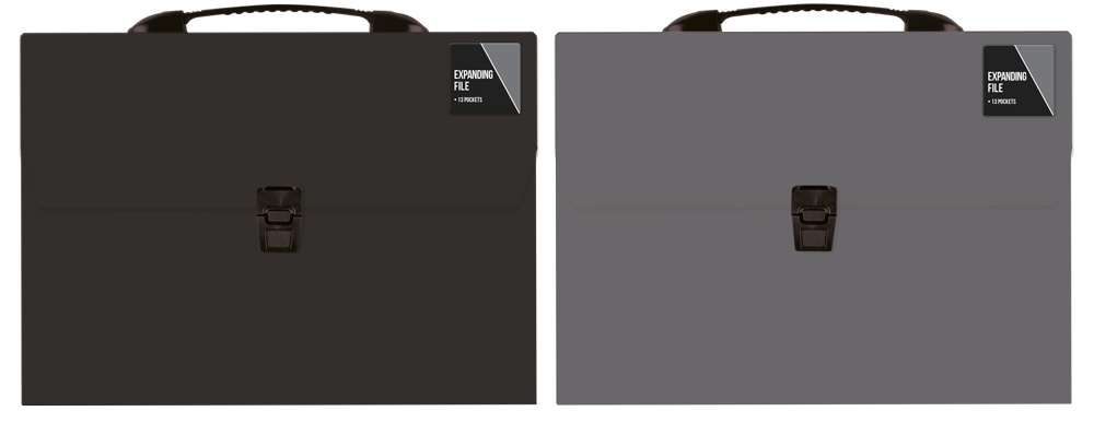 Ig Design 13 Pocket Expanding File - Black/Grey