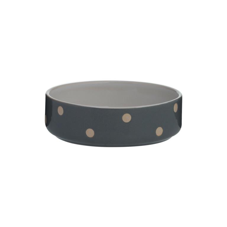Mason Cole Polka Dot Pet Bowl - 13cm Grey