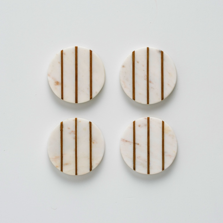 Typhoon Round Coasters Set 4 - Marble Brass