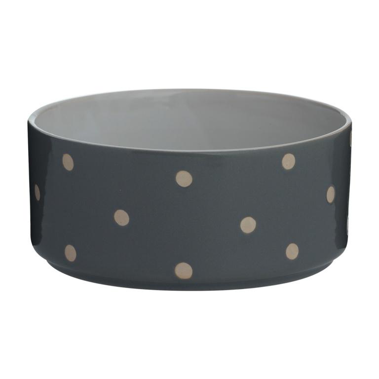 Mason Cole Polka Dot Dog Bowl 18cm Grey