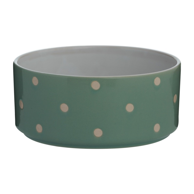 Mason Cole Polka Dot Dog Bowl - 18cm Sage