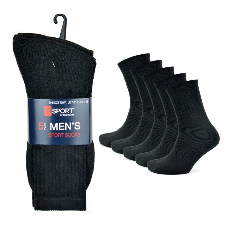 Tom Franks Mens Black Sport Socks - Pack 5
