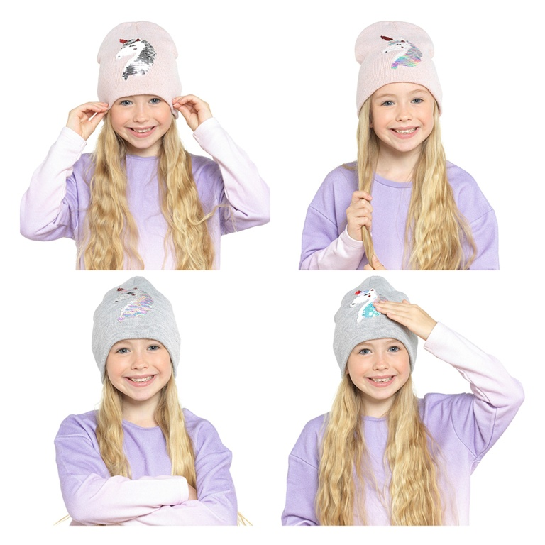 RJM Kids Beanie Hat With Reversible Sequin Unicorn