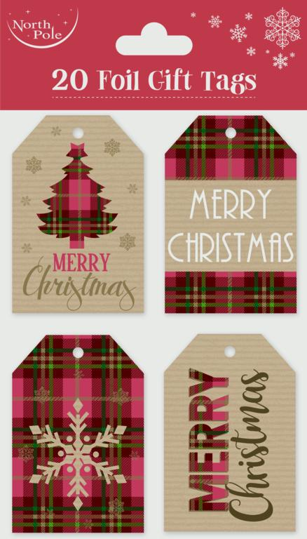 Eurowrap Tartan Craft Tags - 20 Piece