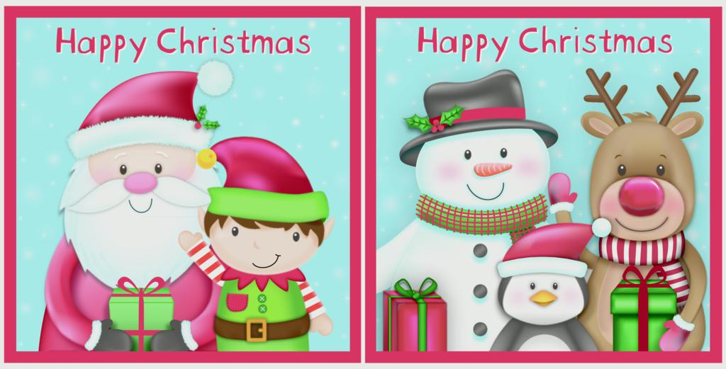 Eurowrap Acetate Cards 12 Piece - Cute Santa