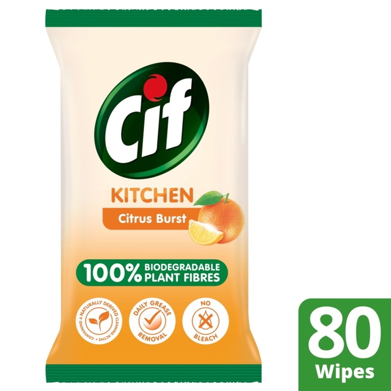 Cif Biodegradable Kitchen Wipes - Citrus Burst