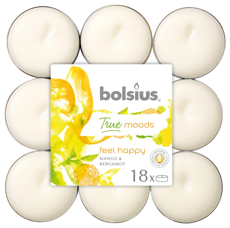 Bolsius 4 Hour Tealights - Feel Happy Pack 18