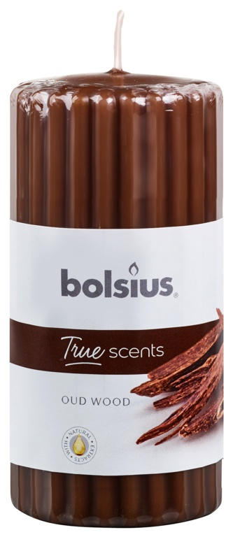 Bolsius Ribbed Pillar Candle - Oud Wood