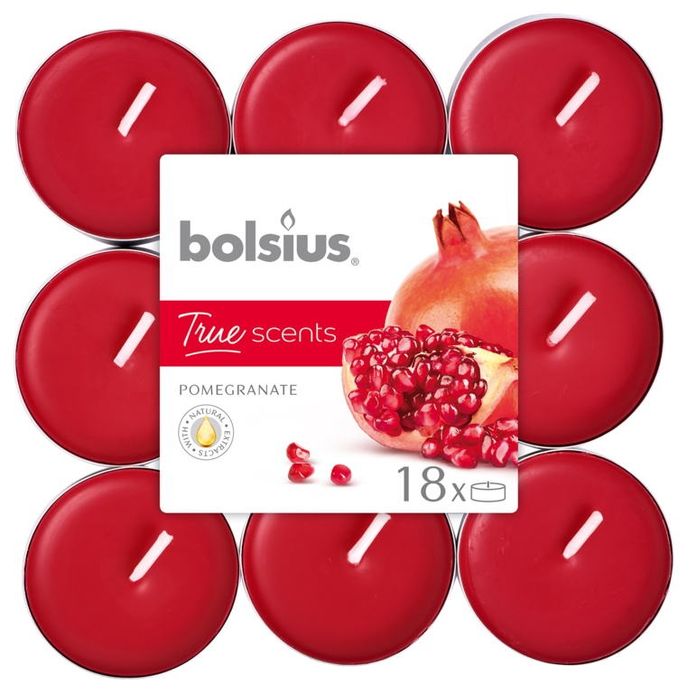 Bolsius 4 Hour Tealights - Pomegrante Pack 18