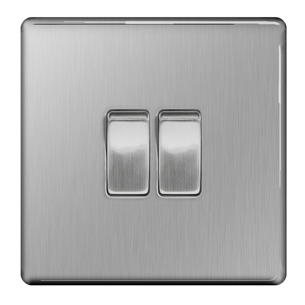 BG Light Switch 10ax Plate 2 Switch - 2way