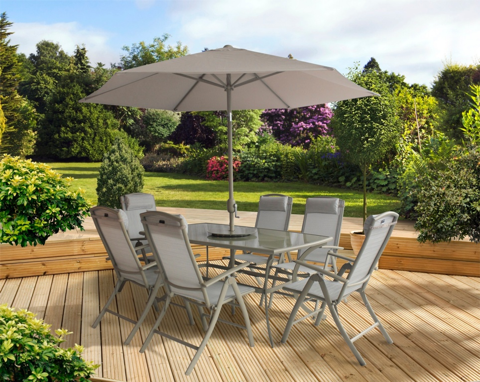 Pagoda Palermo 6 Seat Dining Set With Lazy Susan - 2.7m Parasol