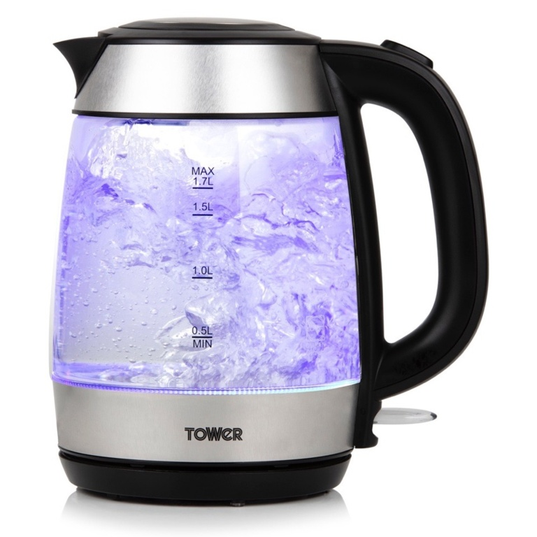 Tower Rapid Boil Glass Kettle 3kw - 1.7L