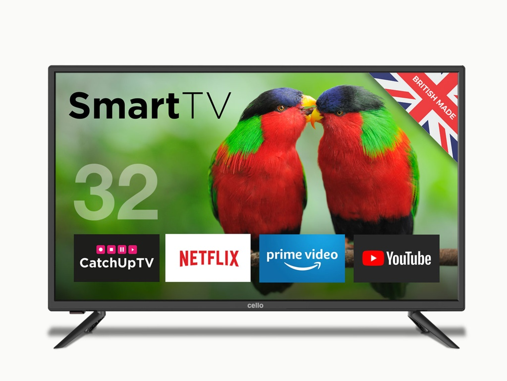 "Cello 32"" HD Ready LED Smart TV with Wi-Fi and DVB-T2"
