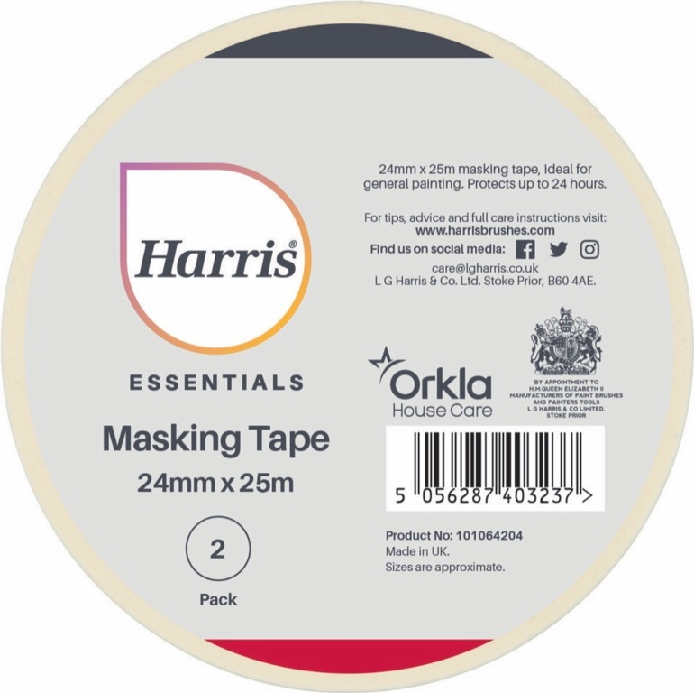 Harris Essentials Masking Tape Pack 2 - 24mm x 25m
