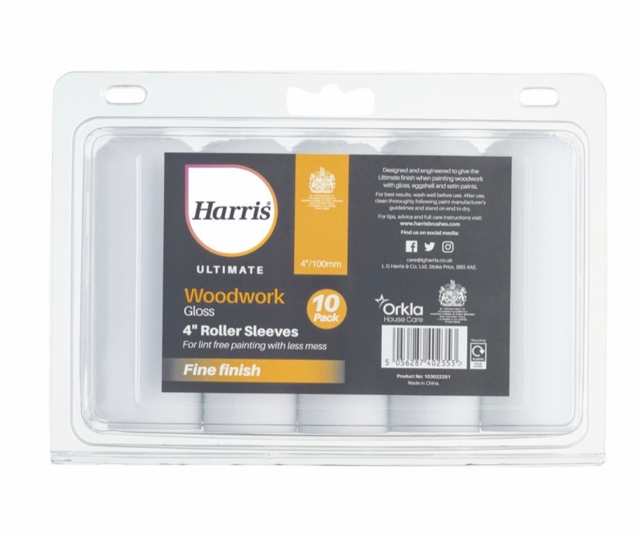"Harris Ultimate Woodwork Gloss Sleeve - 4"" 10 Pack"