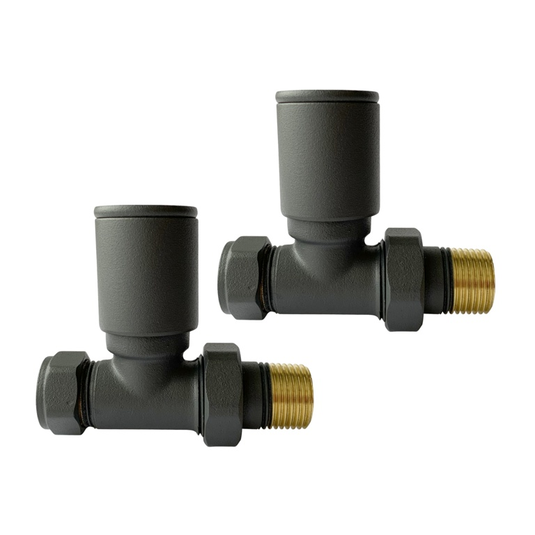 Kartell Anthracite Radiator Valve - 15mm Straight