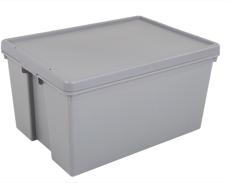 Wham 100% Upcycled Heavy Duty Box & Lid - 62L, Grey
